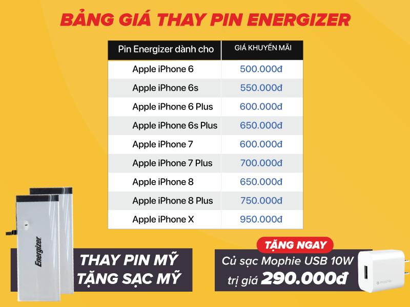 Thu Pin cũ - Thay pin Energizer mới cho iPhone - Nhận quà liền tay - Giá không đổi